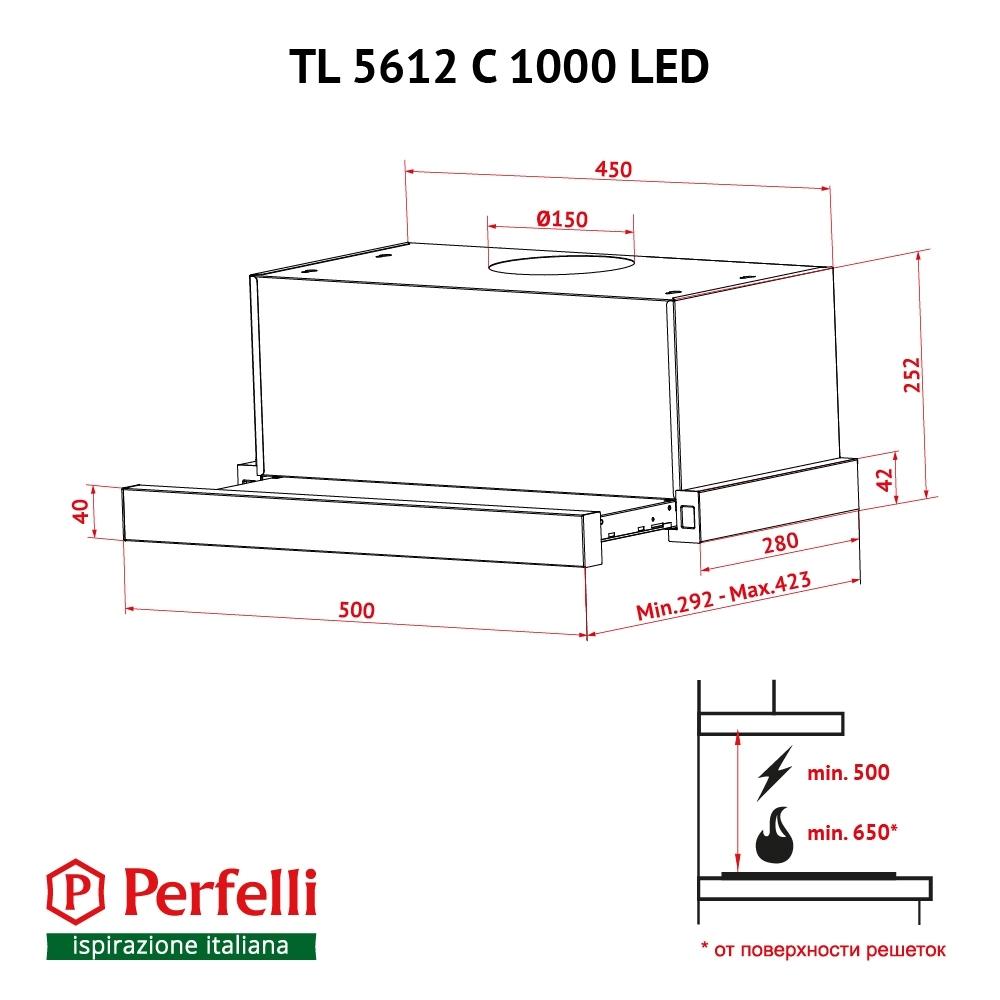 Вытяжка телескопическая Perfelli TL 5612 C WH 1000 LED
