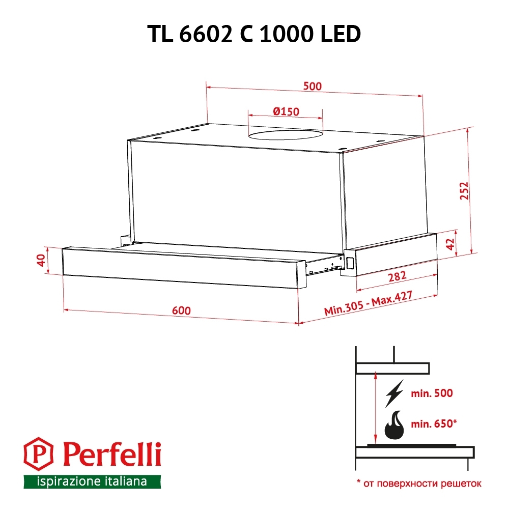 Hood telescopic Perfelli TL 6602 C S/I 1000 LED