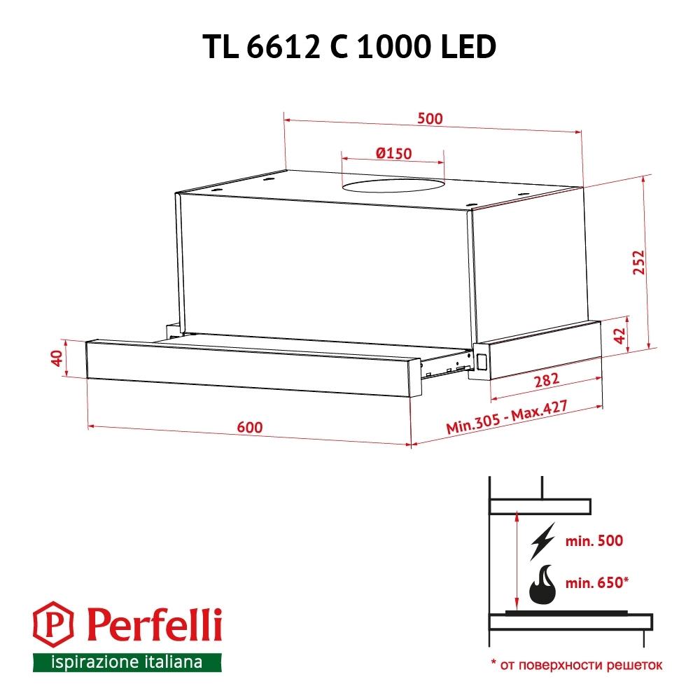 Вытяжка телескопическая Perfelli TL 6612 C IV 1000 LED