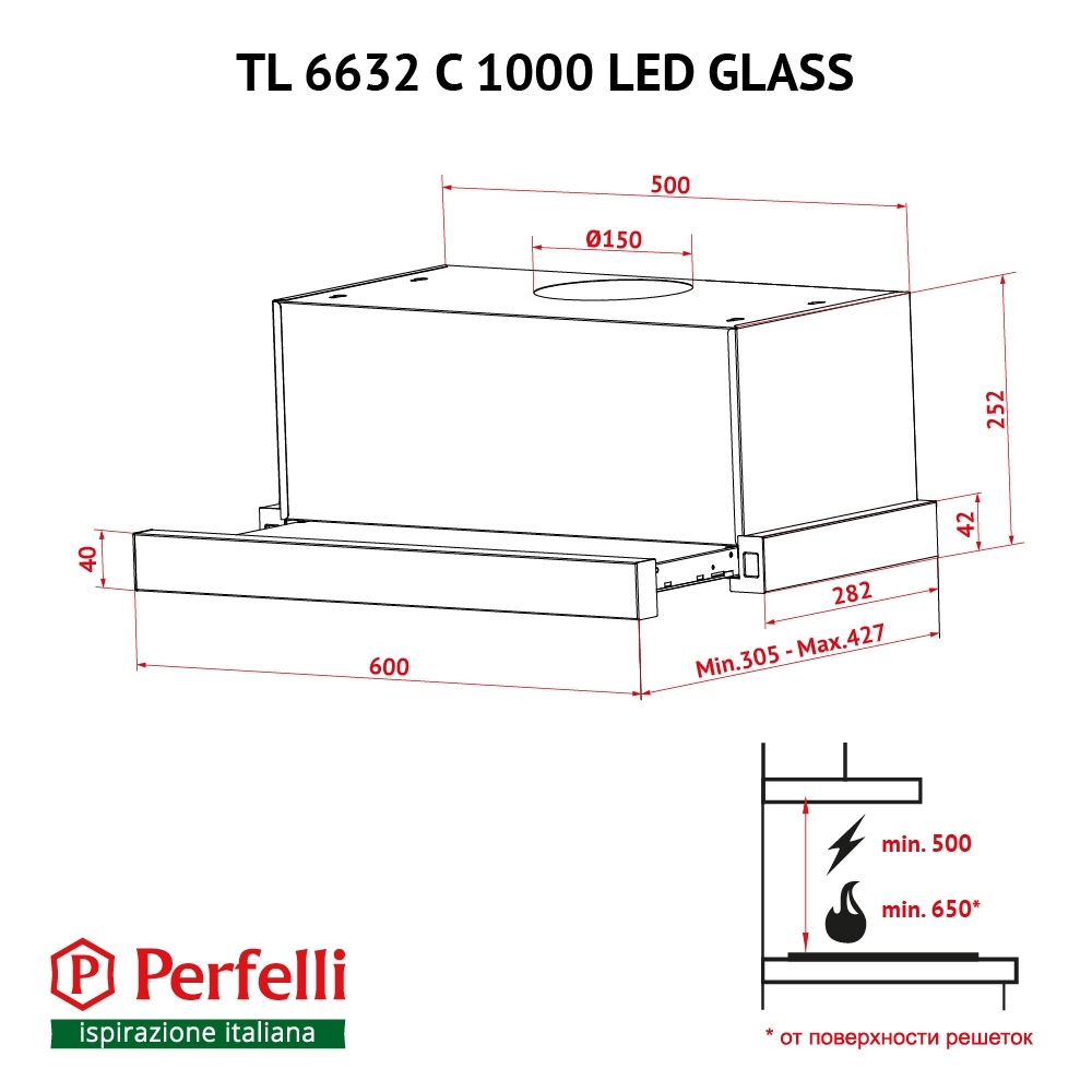 Hood telescopic Perfelli TL 6632 C BL 1000 LED GLASS
