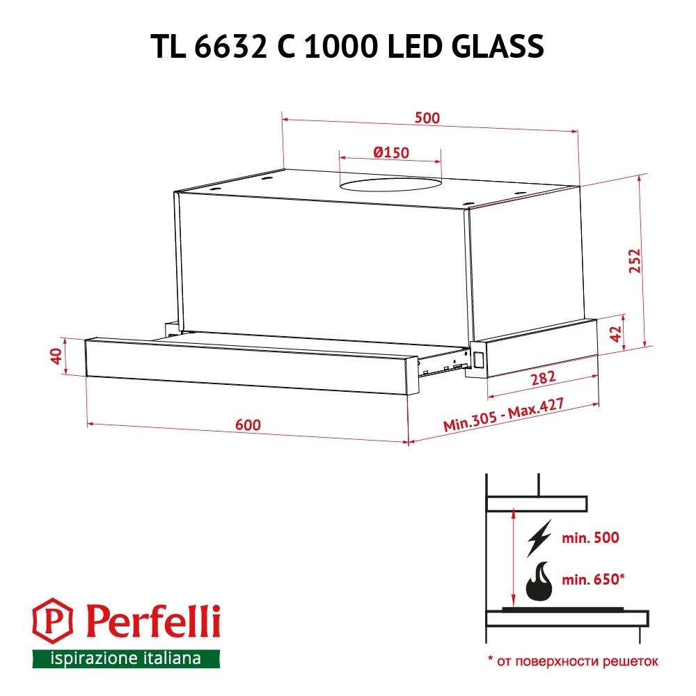 Hood telescopic Perfelli TL 6632 C WH 1000 LED GLASS