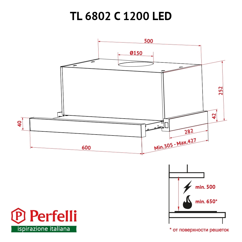 Hood telescopic Perfelli TL 6802 C S/I 1200 LED