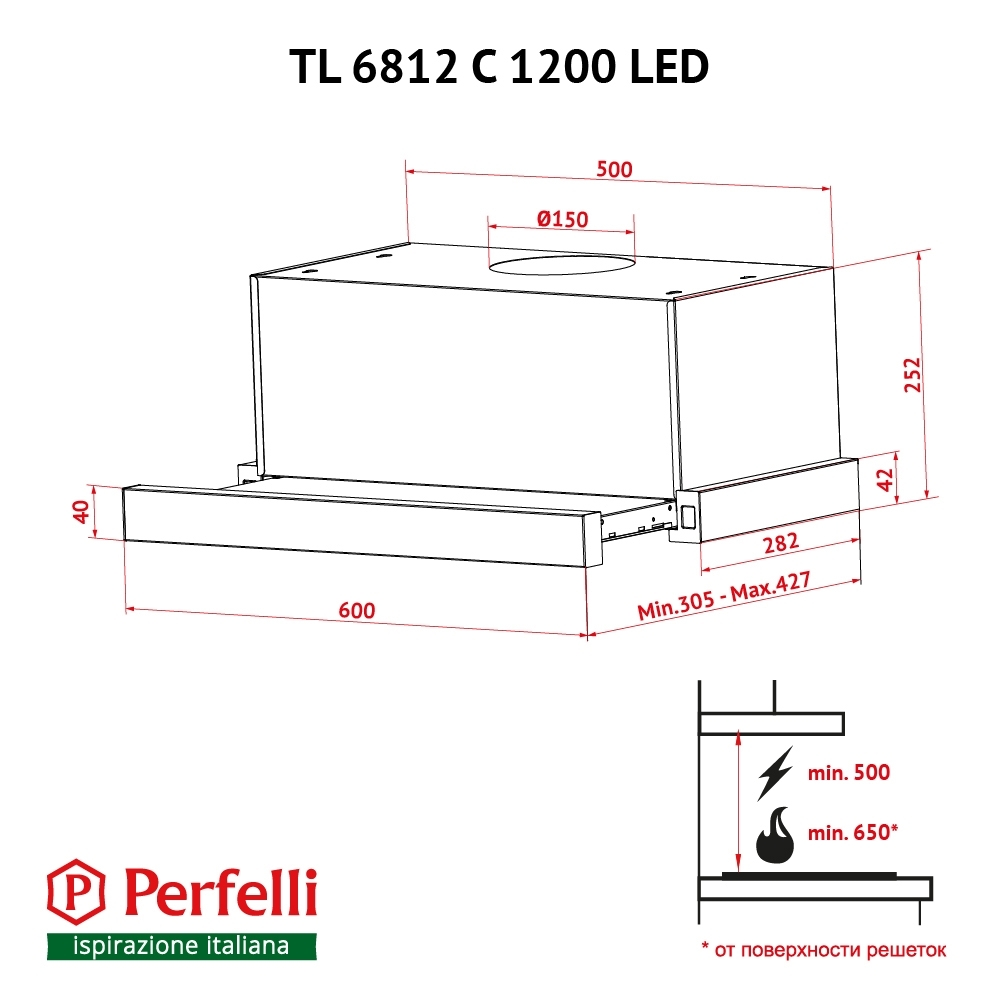 Hood telescopic Perfelli TL 6812 C WH 1200 LED