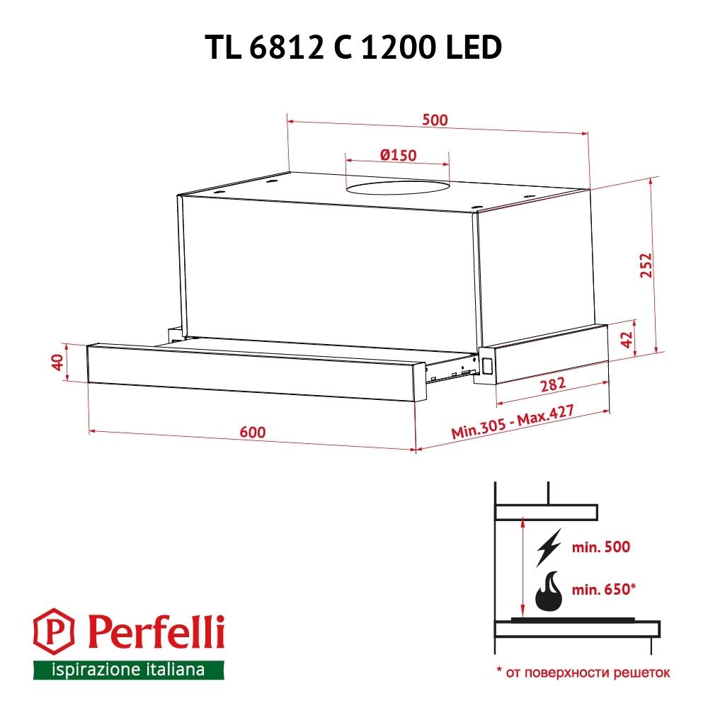Вытяжка телескопическая Perfelli TL 6812 C IV 1200 LED