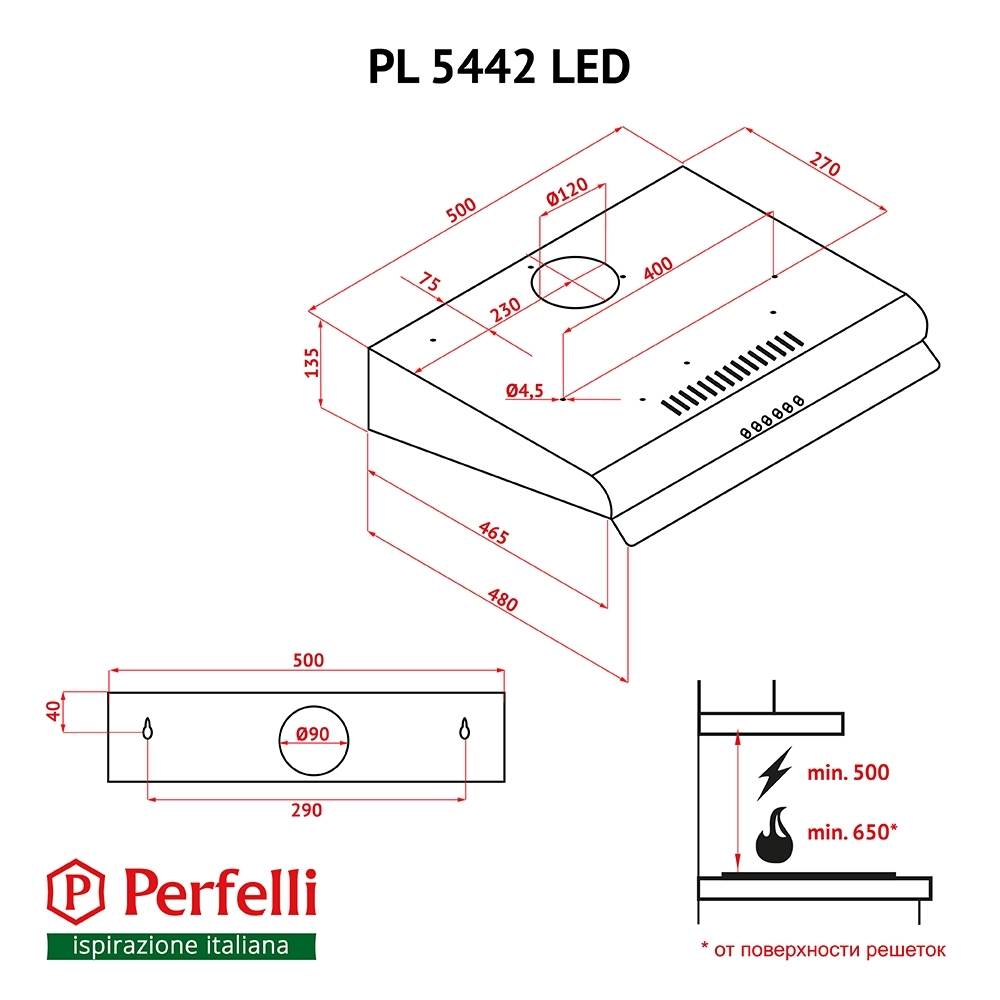 Вытяжка плоская Perfelli PL 5442 W LED