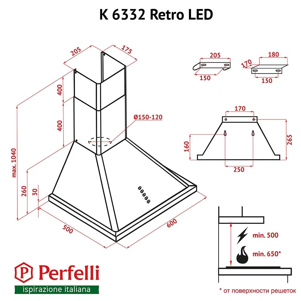 Вытяжка купольная Perfelli K 6332 BL Retro LED