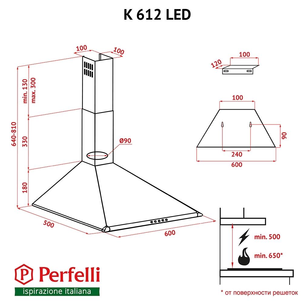 Вытяжка купольная Perfelli K 612 BL LED