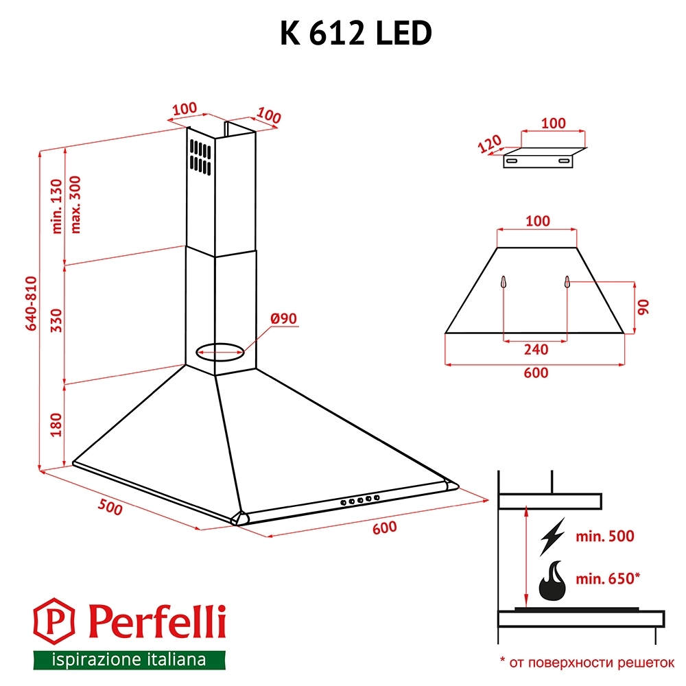 Dome hood Perfelli K 612 BR LED