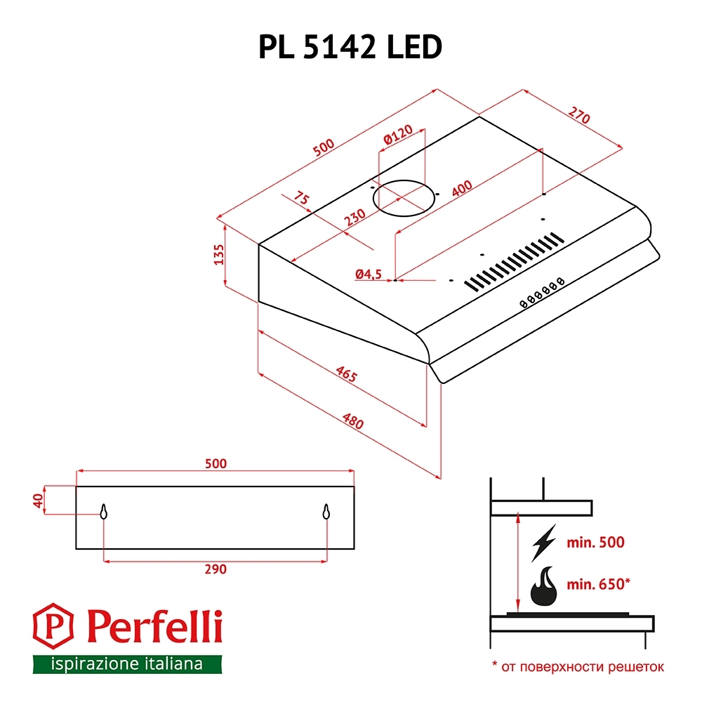 Flat Hood Perfelli PL 5142 BL LED