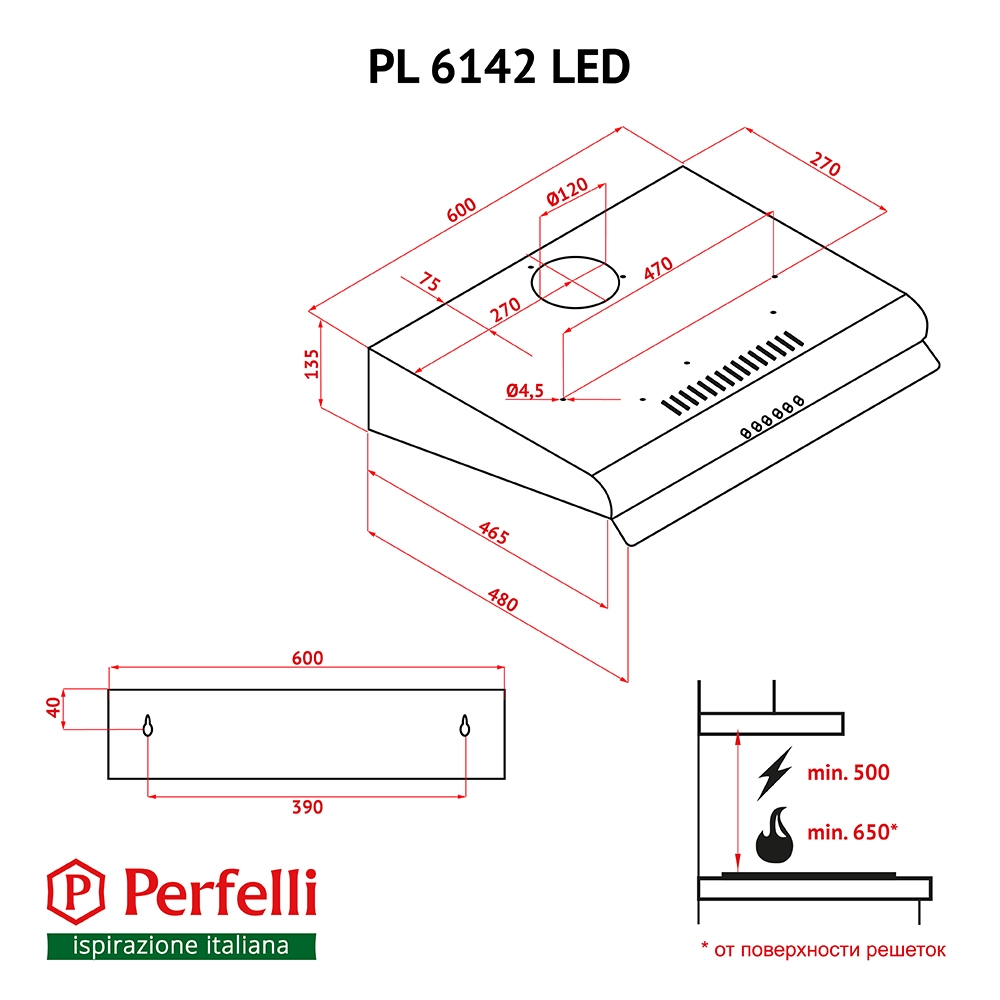 Flat Hood Perfelli PL 6142 BL LED