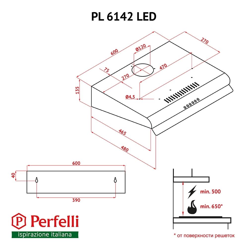 Вытяжка плоская Perfelli PL 6142 I LED