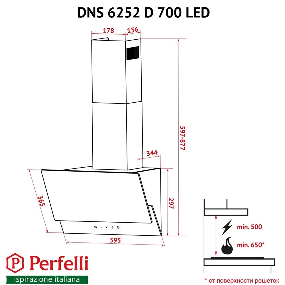 Вытяжка декоративная наклонная Perfelli DNS 6252 D 700 BL LED