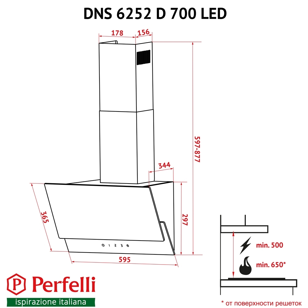 Decorative Incline Hood Perfelli DNS 6252 D 700 IV LED