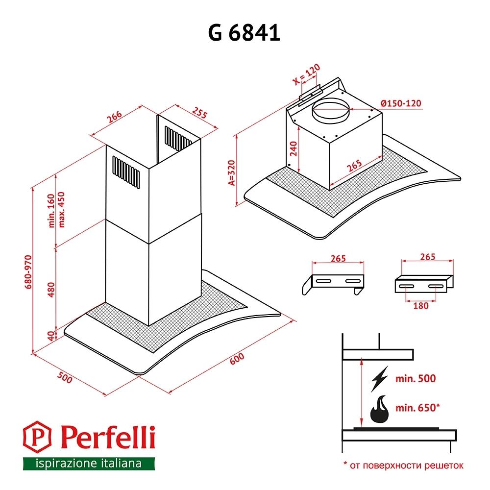 Вытяжка декоративная с стеклом Perfelli G 6841 BL