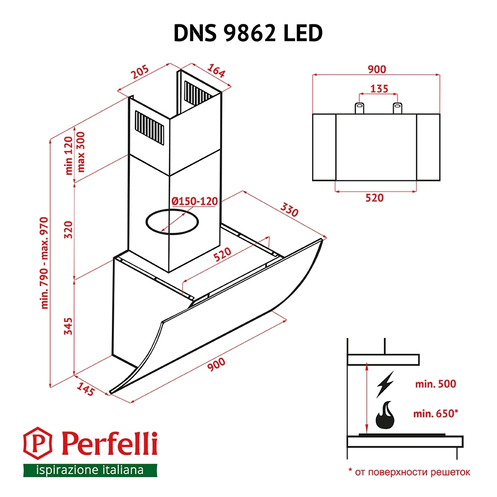 Decorative Incline Hood Perfelli DNS 9862 BL LED
