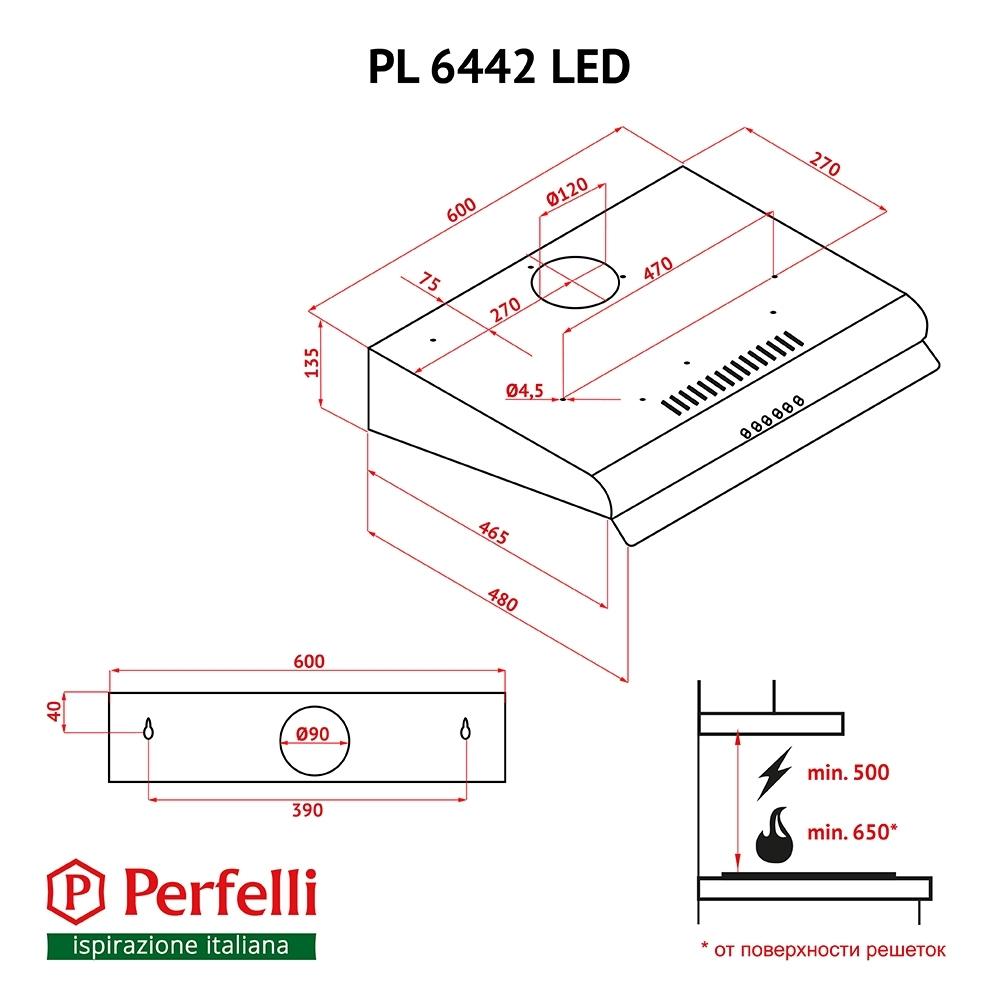 Витяжка плоска Perfelli PL 6442 W LED