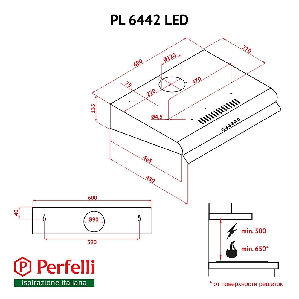 Вытяжка плоская Perfelli PL 6442 W LED