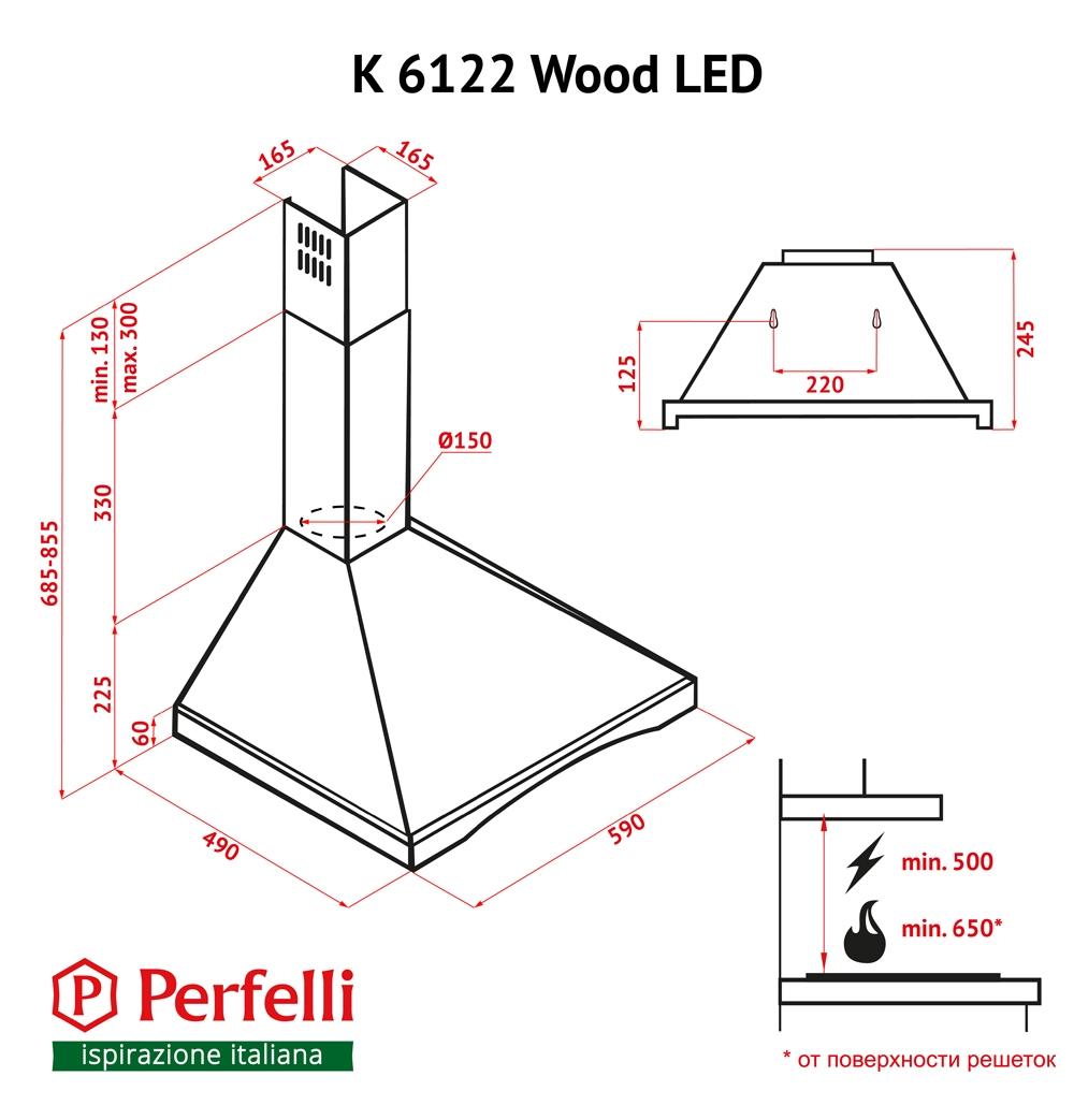 Dome hood Perfelli K 6122 IV Wood LED