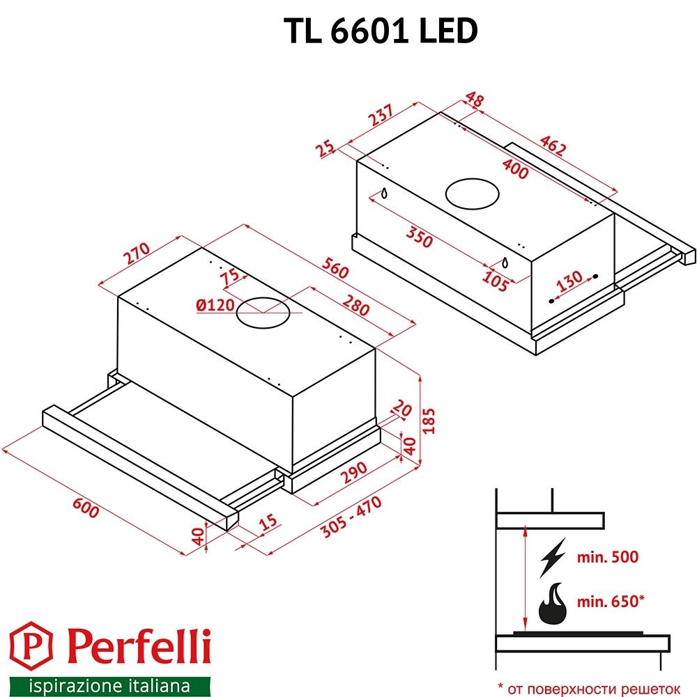 Вытяжка телескопическая Perfelli TL 6601 I LED