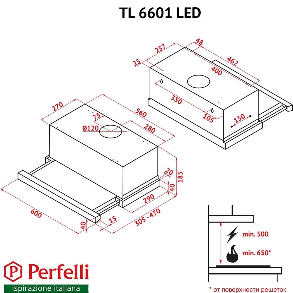 Hood telescopic Perfelli TL 6601 I LED