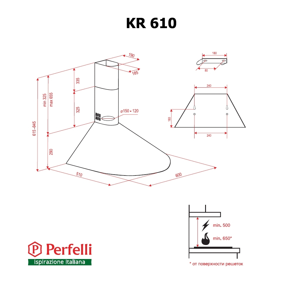 Dome hood Perfelli KR 610 IV