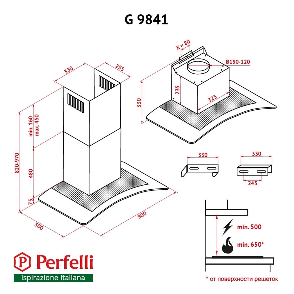 Вытяжка декоративная с стеклом Perfelli G 9841 I